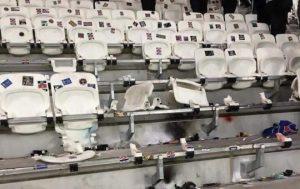 Dégradation sièges Parc OL par les supporters du PSG